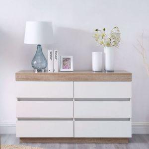 Ashley Coastal White Wooden Chest of 6 Drawers