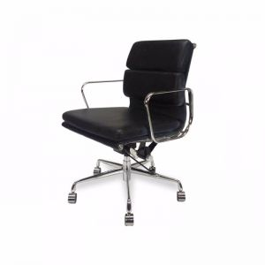 Ashton Low Back Office Chair   Black Leather