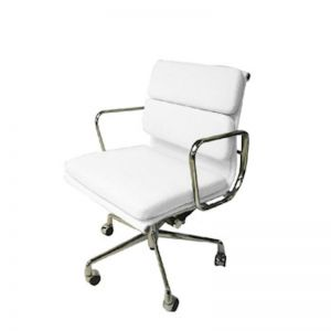 Ashton Low Back Office Chair | White Leather