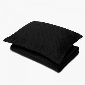 Aspen Black Quilted Pillowcase | Standard
