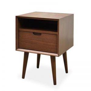 Asta SQ Wooden Bedside Table - Walnut