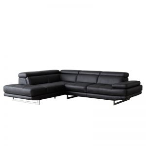 Aster Modular Left Chaise Lounge   Leather   Black