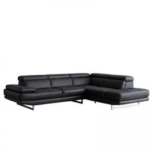 Aster Modular Right Chaise Lounge   Leather   Black