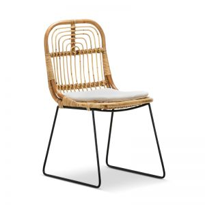 Astro Rattan Cane Dining Chairs   Natural & Black   Set of 2