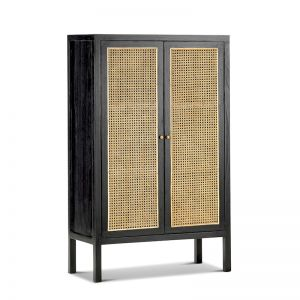 Atlanta Rattan & Mindi Wood Cabinet | Black & Natural