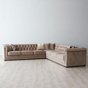 Audrey Corner Sofa | Velvet | Beige