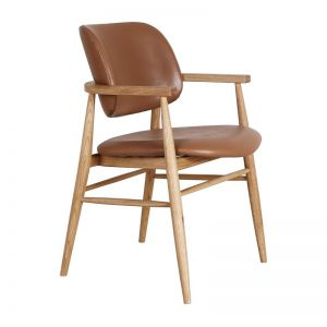 Aura Leather Dining Chair | Oak