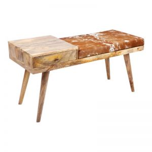 Aurora | Hairon Leather & Wooden Bench | Fab Habitat