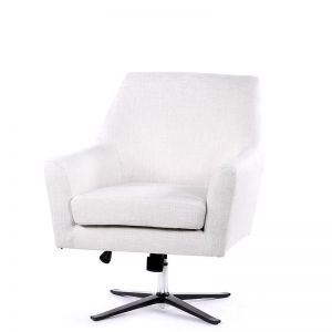 Ava Swivel Chair | Linen White | by Black Mango