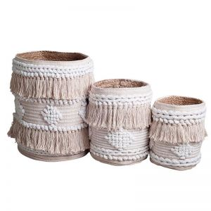 Avalon Boho Basket | White/Natural | BY SEA TRIBE