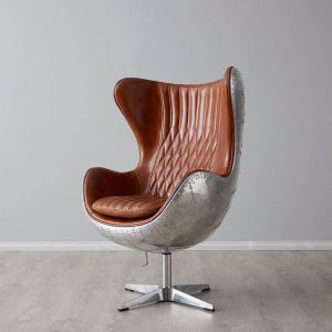 Aviator Egg Chair   Tan Leather Cowhide Seat   Stainless Steel Leg