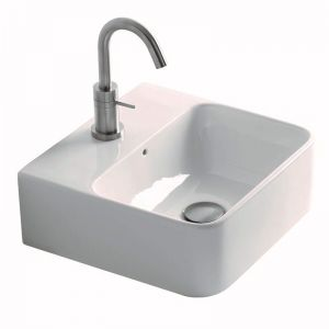 AXA Sheer Wall Basin with Fixing 1 Taphole  White