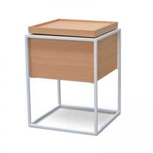 Axis Side Table | Natural Oak & White Frame | CLU Living