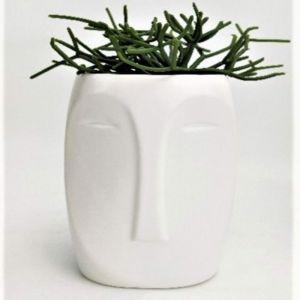 Aztec Face Vase White
