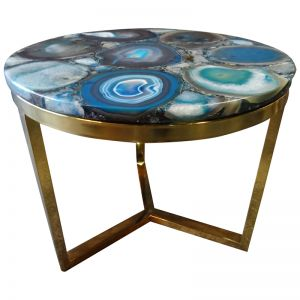 Azzure Teal Blue Agate Nestling Table | Gold Metal Frame