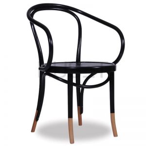 B9 Bentwood Armchair by Micheal Thonet | Black with Natural Socks