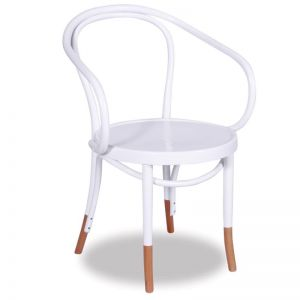 B9 Bentwood Armchair by Micheal Thonet | White with Natural Socks