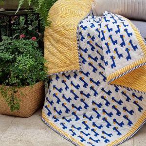 Baby Quilt   Blue Giraffe   Reversible   GOTS Certified Organic Cotton