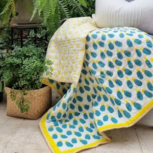 Baby Quilt   Blue Pineapple   Reversible   GOTS Certified Organic Cotton