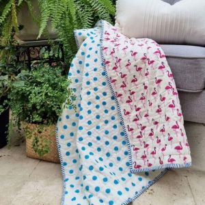 Baby Quilt   Pink Flamingos   GOTS Certified Organic Cotton   Reversible