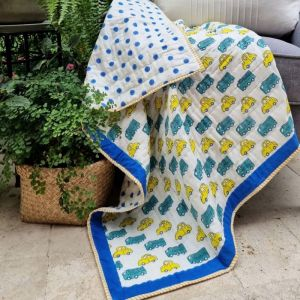 Baby Quilt   Yellow Cars   Reversible   GOTS Certified Organic Cotton