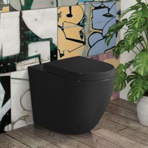 Back To Wall Pan and Seat with Geberit inwall cistern | Black