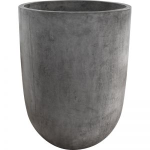Bali Round 55x75cm Polished Concrete Planter, Dark Grey   Schots