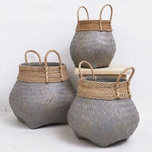 Bamboo Basket with Seagrass Trim Greywashed