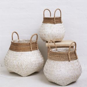 Bamboo Basket with Seagrass Trim Whitewashed