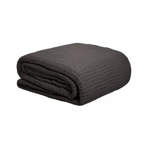 Bambury Cotton Waffle Blacket | Charcoal | Queen / Double