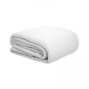 Bambury Cotton Waffle Blanket | White | Single