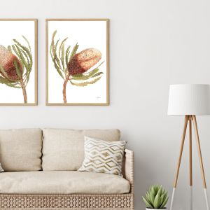 Banksia Native Living Art Flower 2 in White by Pick a Pear | Unframed