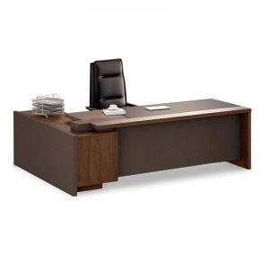 Barclay Executive Office Desk + Left Return | Walnut + Grey | Modern Furniture