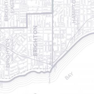 Bayside Melbourne Map | Light Steel Grey | Wallpaper