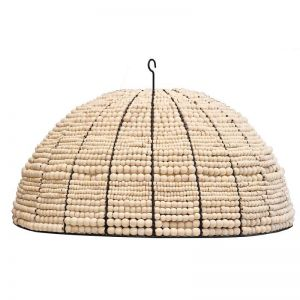 Beaded Dome Pendant   Natural   by Raw Decor