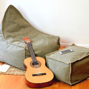Bean Bag and Footstool Khaki With Hemp Stitching