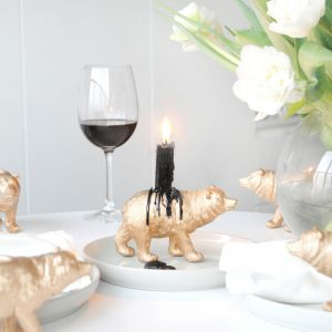 Bear Candle Holder (6 Pack) | Gold | White Moose