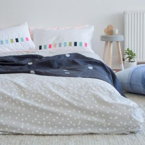 Bed Linen | Sprinkle Sprinkle | White on Grey Cotton