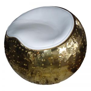 Belle X-1 Polished Brass and White Leather Cocoon Stool | by Cocolea Furniture