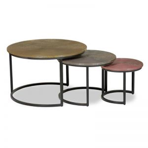 Bernon Nest Of 3 Tables | Brass, Silver & Copper