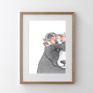 Beryl The Bear With Protea Crown | Art Print | Dots by Donna