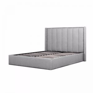 Betsy Fabric Queen Sized Bed Frame | Pearl Grey with Storage