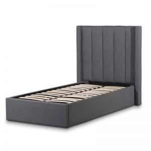 Betsy Fabric Single Sized Bed Frame   Charcoal Grey with Storage