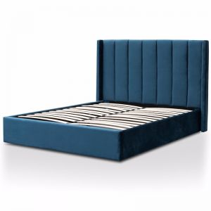 Betsy Queen Sized Bed Frame   Teal Navy Velvet with Storage