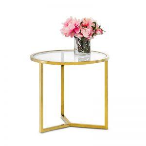 Bianka Round Glass Side Table | Polished Gold