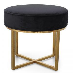Bianka Steel Frame Ottoman In Black Velvet Seat | Brushed Gold Base