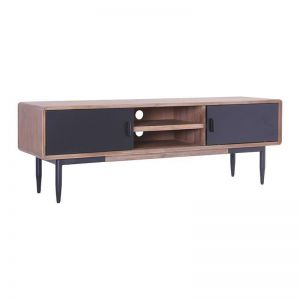 BINDER TV Entertainment Unit | Acacia Solid Wood | Black & Taupe