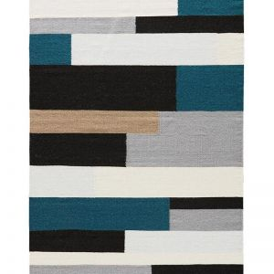 Black & Multi Geometric | Handmade Flat Weave Rug