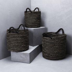Black Striped Basket with Black Handles l Pre Order