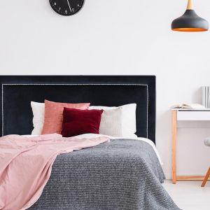 Black Velvet Studded Upholstered Bedhead | Custom Made | All Sizes